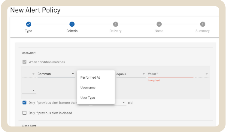 SecureCloudDB New Alert Policy