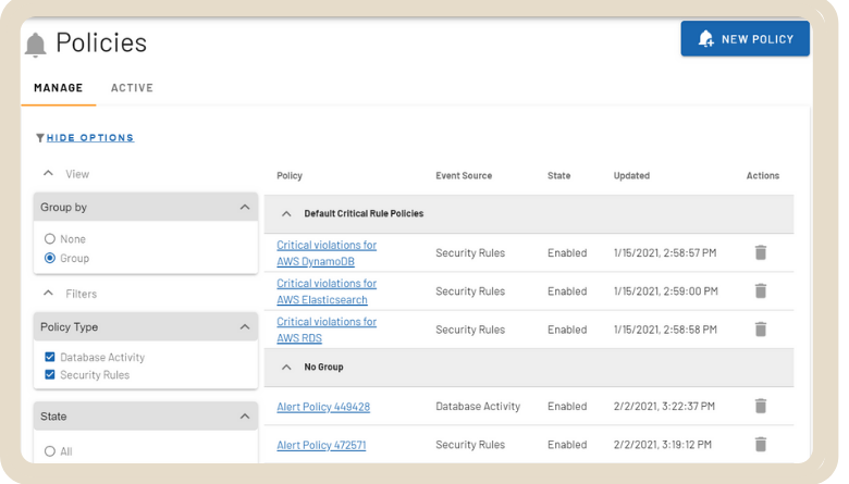 SecureCloudDB Policies