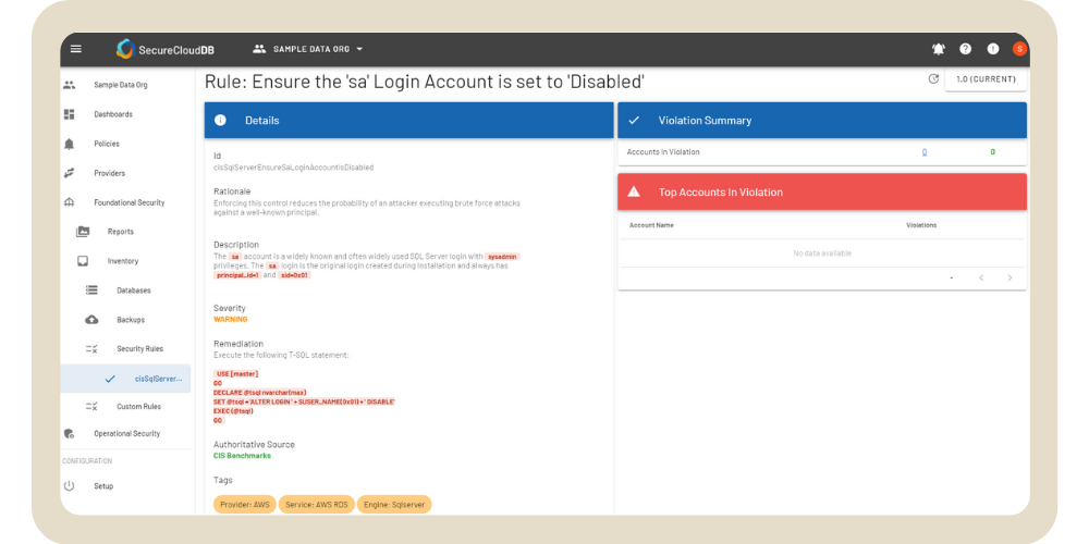 Security Rule - Ensure the 'sa' Login Account is set to 'Disabled'