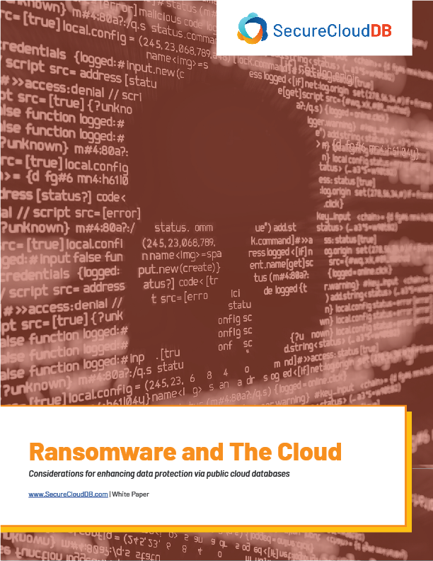 SecureCloudDB White Paper - Ransomware and The Cloud 2102A - Cover Page